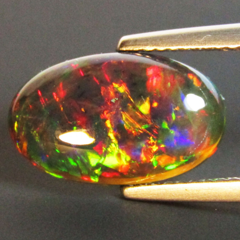 2.47Cts Natural Earth Mined Color Play Black Opal Oval Cabochon Gem REF VOD