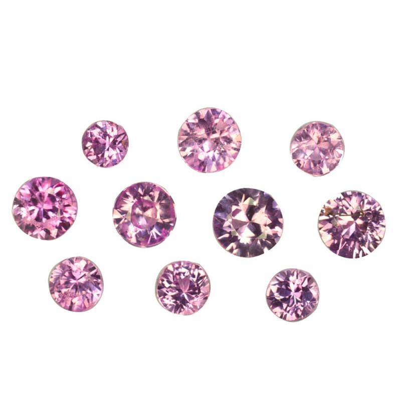 1.18 Cts Natural Pink Sapphire 3.3-2.5mm Round Cut 10 Pcs Parcel