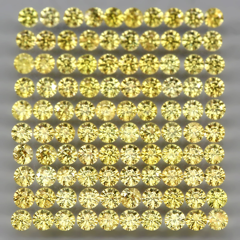 3ct 1.6mm 125pcs. Round Diamond Cut  Natural Top Rich Yellow Sapphire
