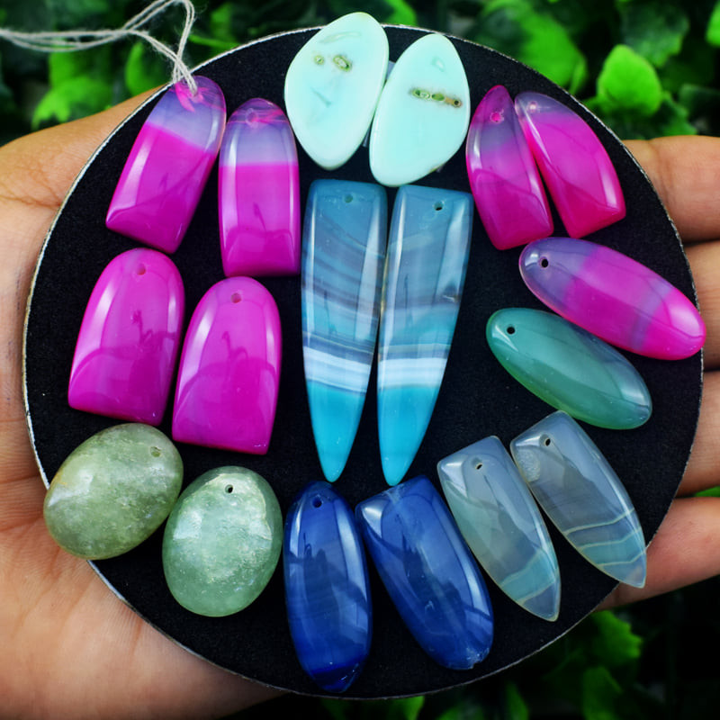 Drilled Onyx Flat Back cabochons Pair Lot - Wholesale
