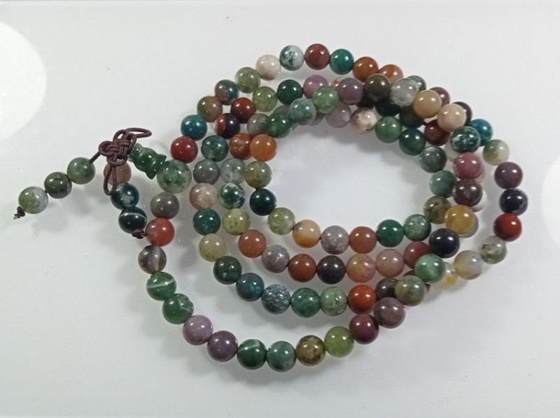 Natural Gorgeous Indian Agate Healing Crystal Stretch Mala  Necklace