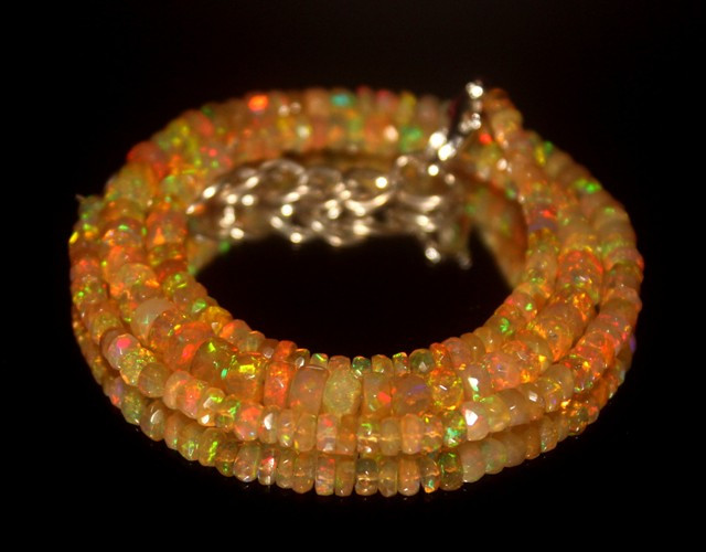 42.85 Crts Natural Welo Faceted Opal Beads Necklace 280