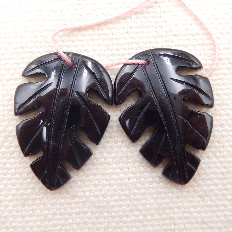19.5cts natural obsidian earrings pair,carved leaves earrings D1267