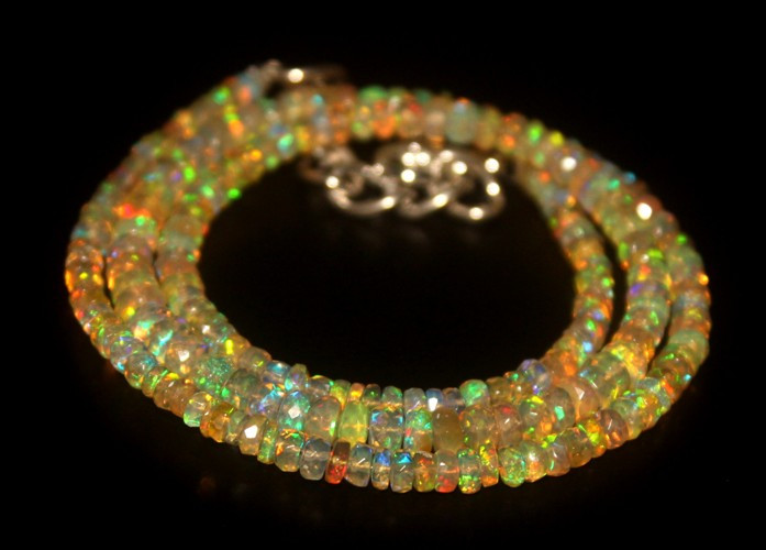 36 Crts Natural Welo Faceted Opal Beads Necklace 287
