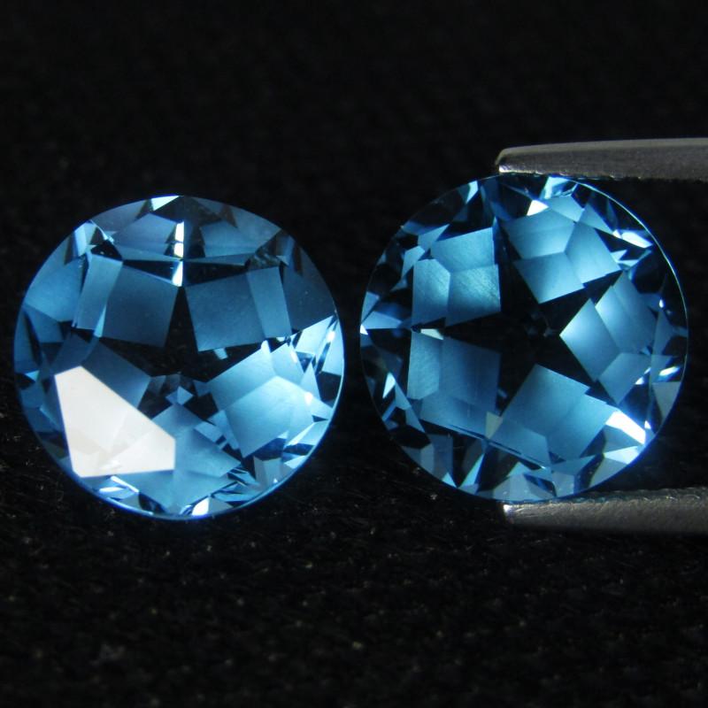 12.88Cts Sparkling Natural Swiss Blue Topaz Round Star Cut Matching Pair VI