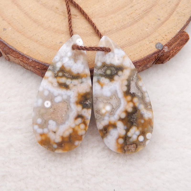 D1322 - 24cts ocean jasper water drop earrings pair,natural gemstone earrin
