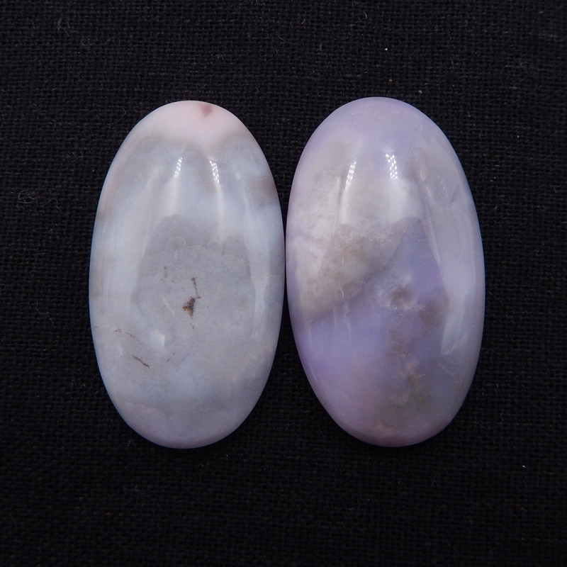 D1355 - 98cts purple agate cabochons pair,natural agate gemstone