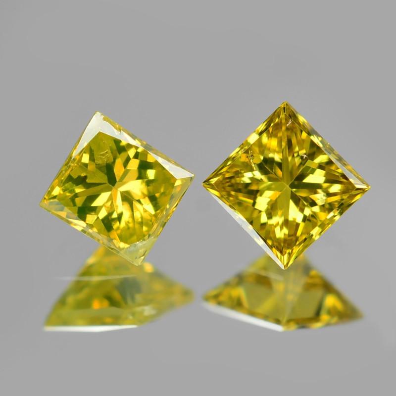 *NoReserve*Diamond 0.17 Cts 2Pcs Rare Yellow-Green Color Natural VS Clarity