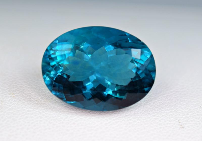 rare blue fluorite faceted gemstone