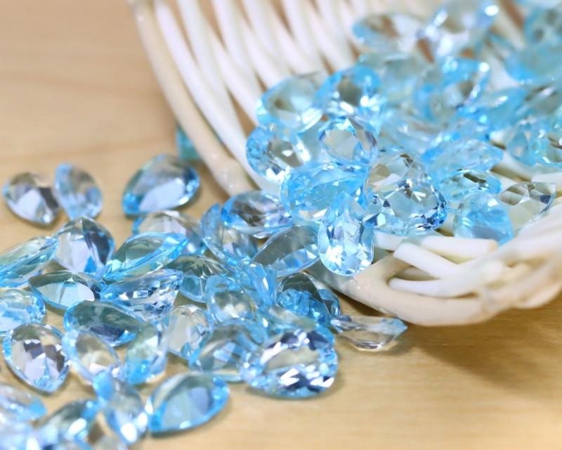 Blue Topaz 153.00Ct 87Pcs Pear Cut Natural Swiss Blue Topaz A2926