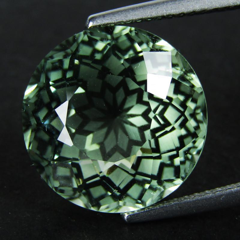 10.99Cts Stunning Natural Green Amethyst (prasiolite) Round Shape  VDO
