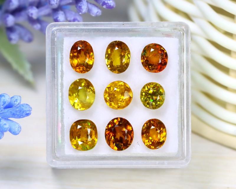 Sphene 7.20Ct 9Pcs Oval Cut Natural Rainbow Flash Sphene Box C0523