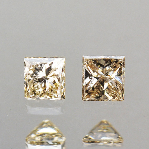 0.12 Cts Natural Untreated Diamond Fancy Yellow Square Princess Cut Africa