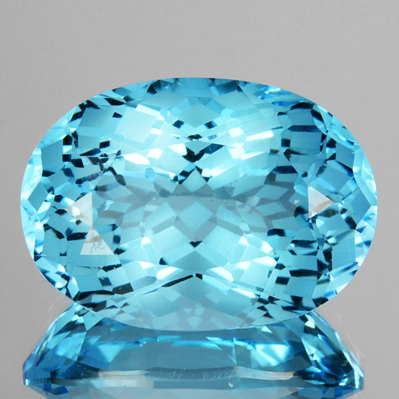 ~CUSTOM CUT~ 16.20 Cts Natural Baby Blue Topaz Fancy Oval USA