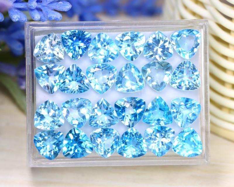 Blue Topaz 109.62Ct 24Pcs Trillion Cut Natural Sky Blue Topaz Lot A0508