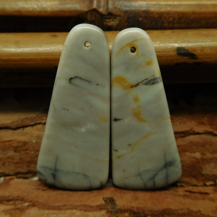 Picasso jasper earring bead cabochon pair (G2797)