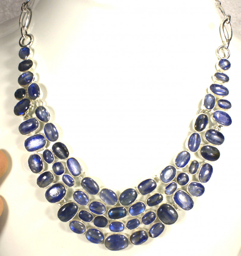 500.0 Tcw. Himalayan Kyanite, Sterling Silver Necklace - Gorgeous
