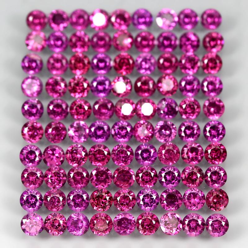 10.20 Ct 90pcs. 2.7mm Round 100% Natural Neon Purple Rhodolite Garnet Malaw