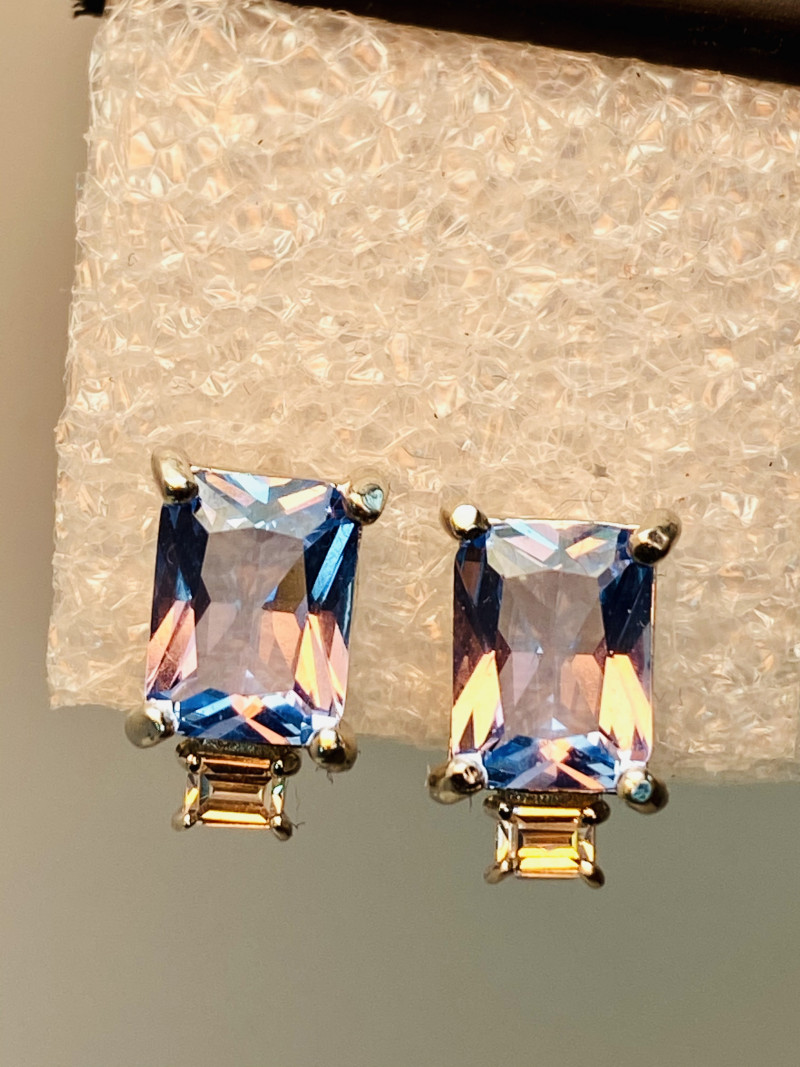 BLUE TOPAS ZIRKON EARRINGS- , SILVER    GOLD PLATED UNUSED - COLLECTION!