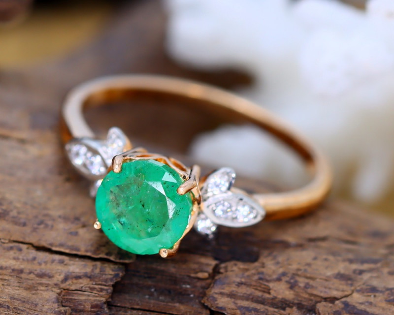 Zambian Emerald 14K Pink Rose Gold Diamond Ring EM162