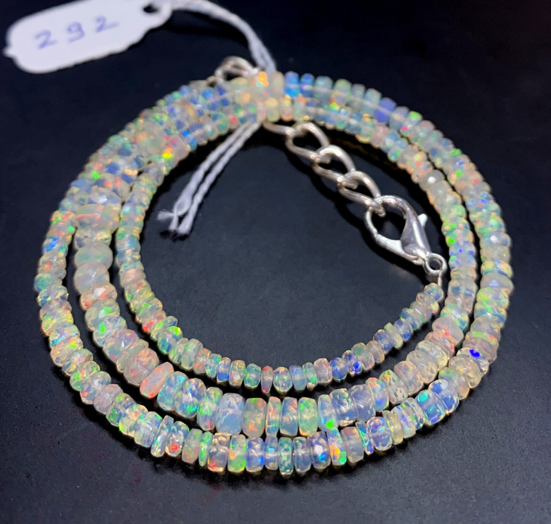 36 Crts Natural Welo Faceted Opal Beads Necklace 292