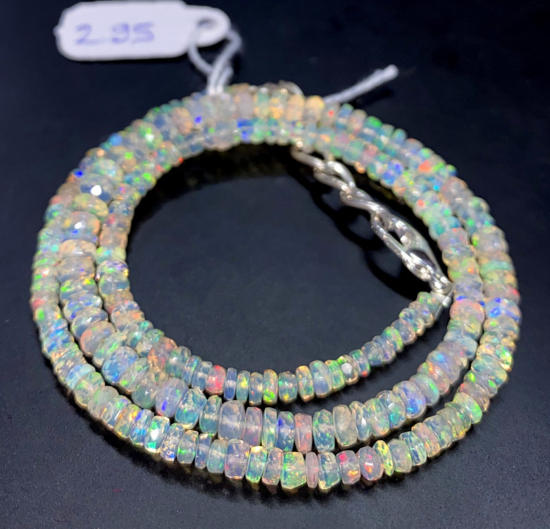 36.95 Crts Natural Welo Faceted Opal Beads Necklace 295