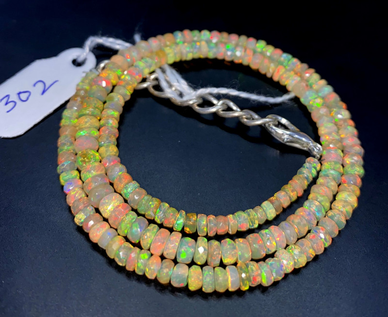 41.90 Crts Natural Welo Faceted Opal Beads Necklace 302