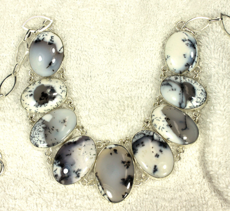 407.5 Tcw. Dendritic Opal / Sterling Silver Necklace - Gorgeous