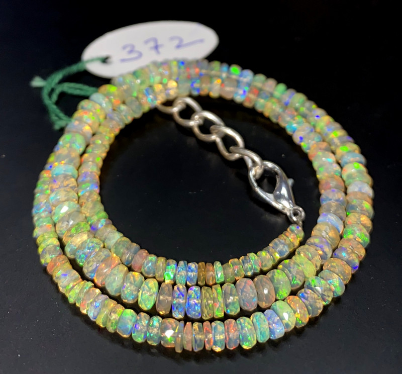 47.50 Crts Natural Welo Faceted Opal Beads Necklace 372