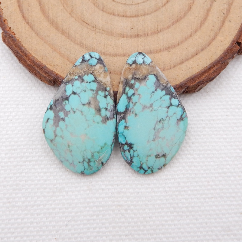 D1570 - 18.5cts Lucky Turquoise, Handmade Gemstone, Turquoise Cabochons Pai