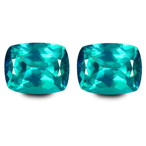 7.35Cts Sparkling Natural Paraiba Color Topaz Cushion Cut Matching Pair VID