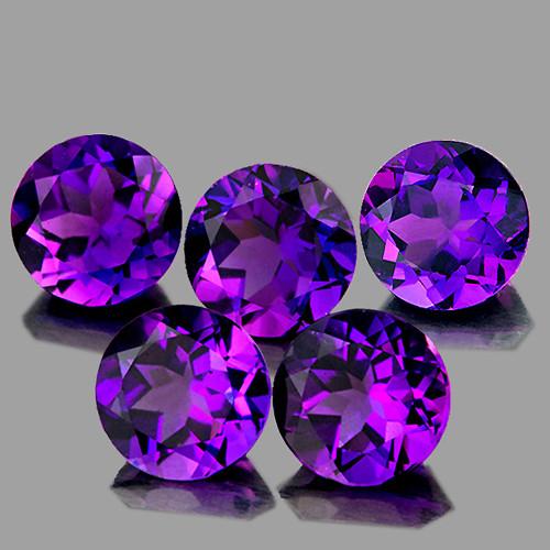 6.00 mm Round 5 pcs 4.12cts Purple Amethyst [VVS]