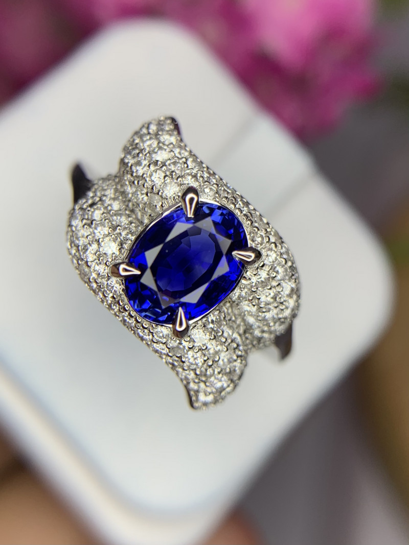 14k Natural Sapphire and Diamond Ring.