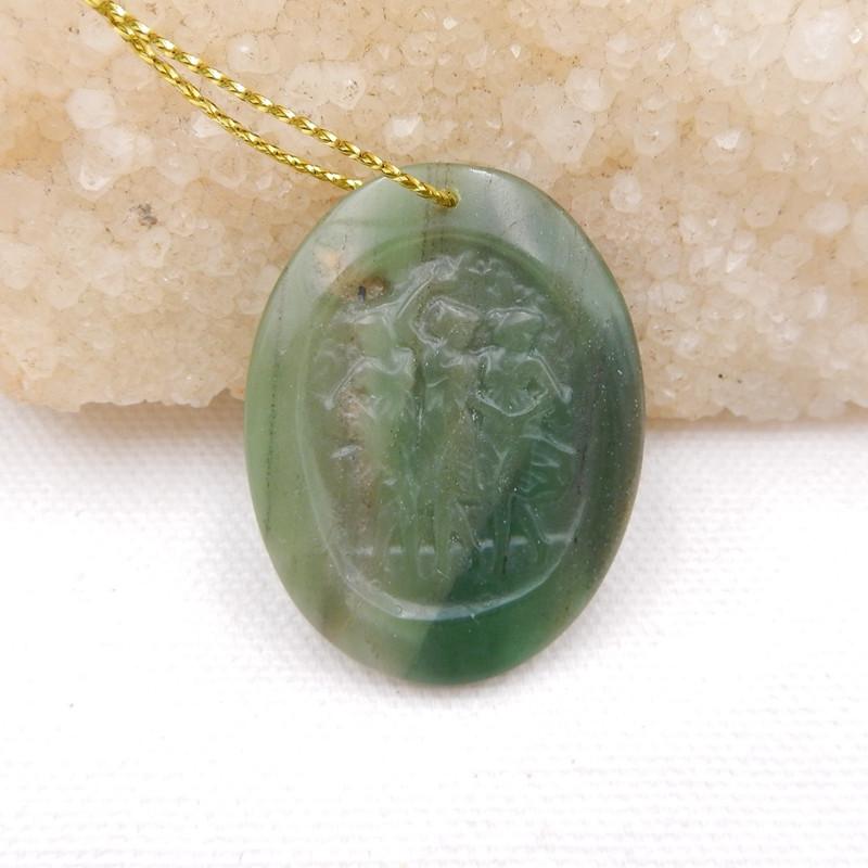 D1575 - 42cts african Jade handmade carved pendant,natural gemstone pendant