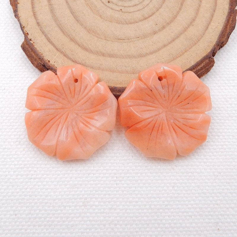 D1576 - 40.5cts Carved flower red aventurine earrings pair,healing stone