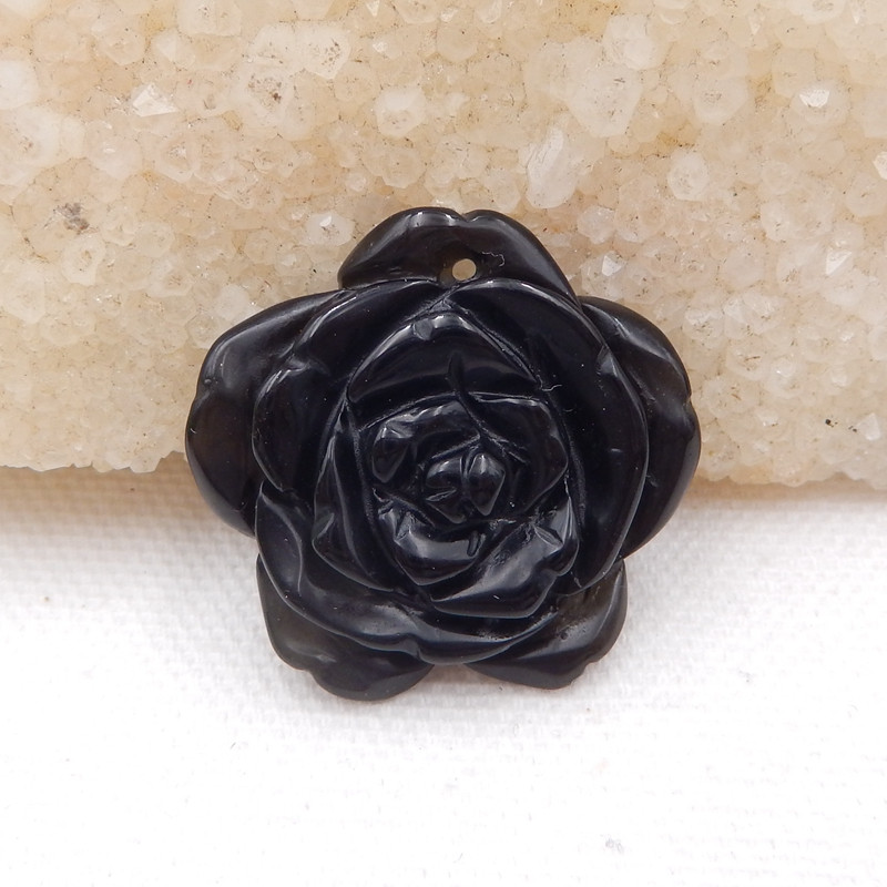 D1585 - 31.5cts Handcarved Natural Obsidian Flower Pendant,Obsidian Gemston