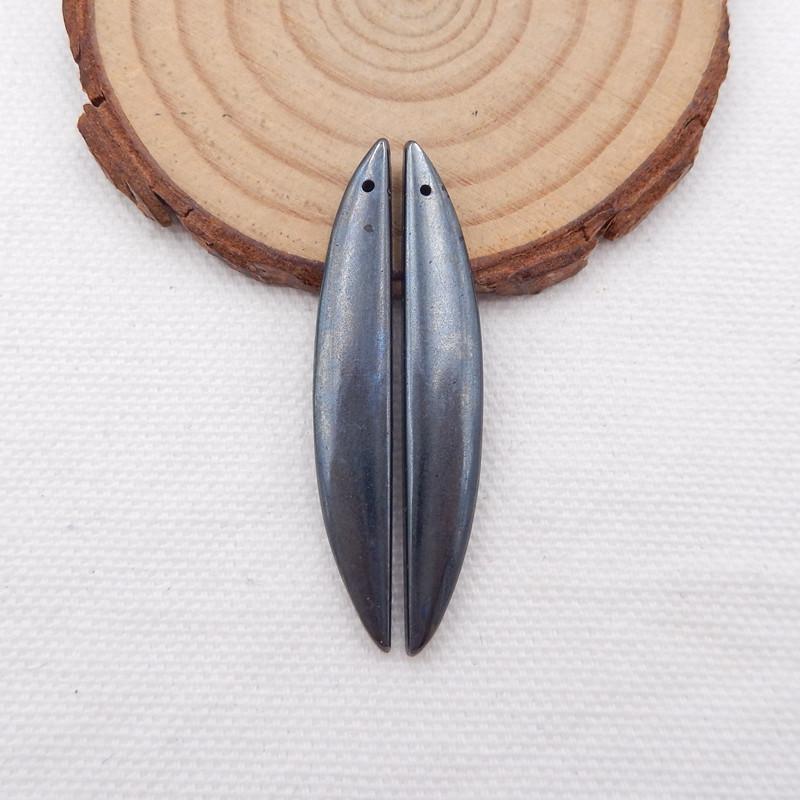 D1589 - 38.5cts natural hematite earrings beads pair, hematite gemstone bea