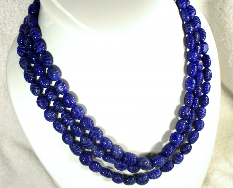 839.5 Tcw. Carved Blue Sapphires Necklace - Gorgeous