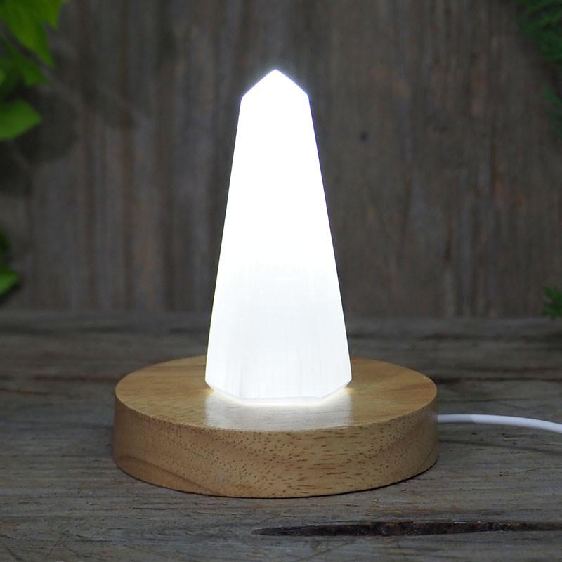 Selenite Obelisk with LED Light Crystal Display Base