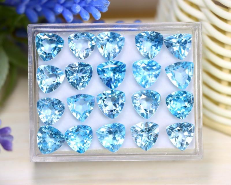 Blue Topaz 38.71Ct VS Trillion Cut Natural Sky Blue Topaz Lot Box A2030