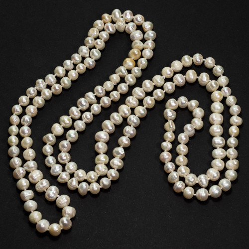 90.2g Natural Pearl Necklace - 7-9mm Knotted 127cm Length