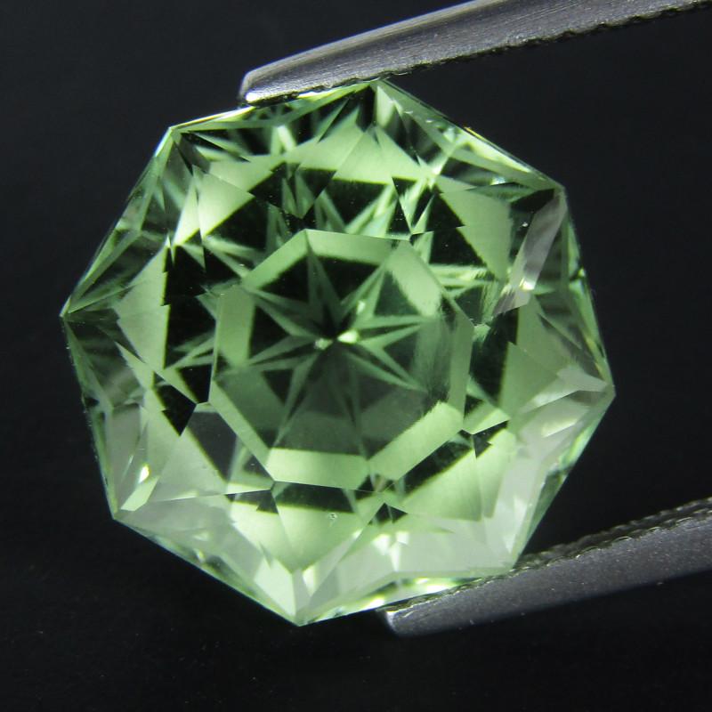 11.10Cts Stunning Natural Green Amethyst (prasiolite) Octagonal Magic Cut R