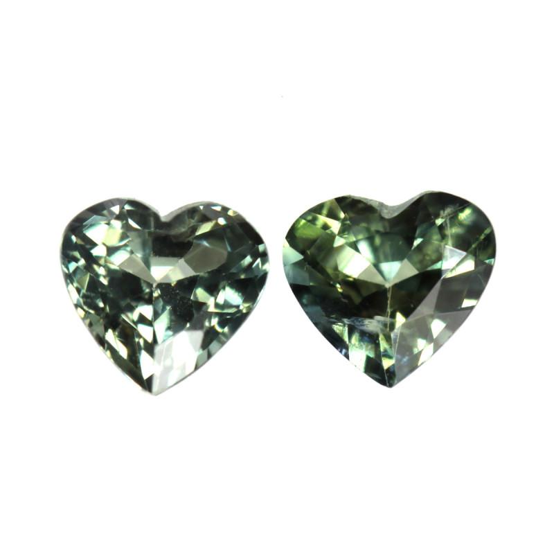 0.59cts Natural Australian Parti Sapphire  Matching Heart Shapes