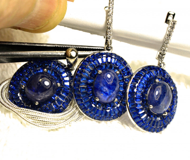 104.5 Tcw Blue Sapphire Earrings Pendant White Gold Plated