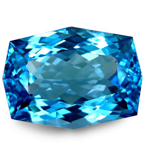 5.90Cts Sparkling Natural Swiss Blue Topaz Cushion Custom Cut Loose Gem VID
