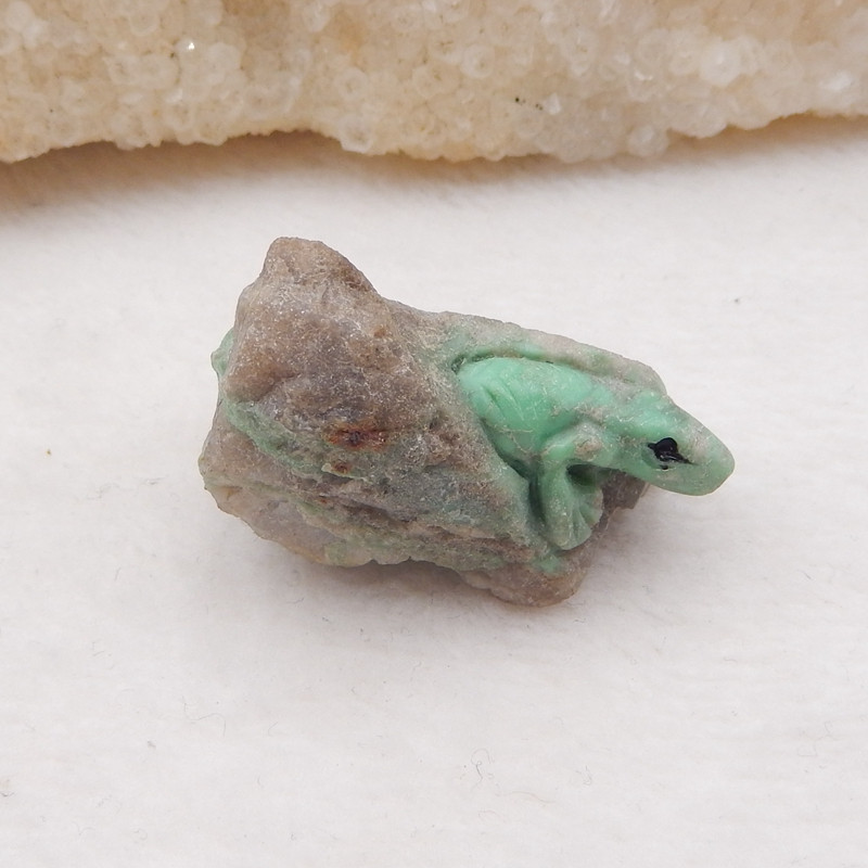 D1751 - 55cts Carved Lizard Cabochon Turquoise Carving Lizard. Natural Ston