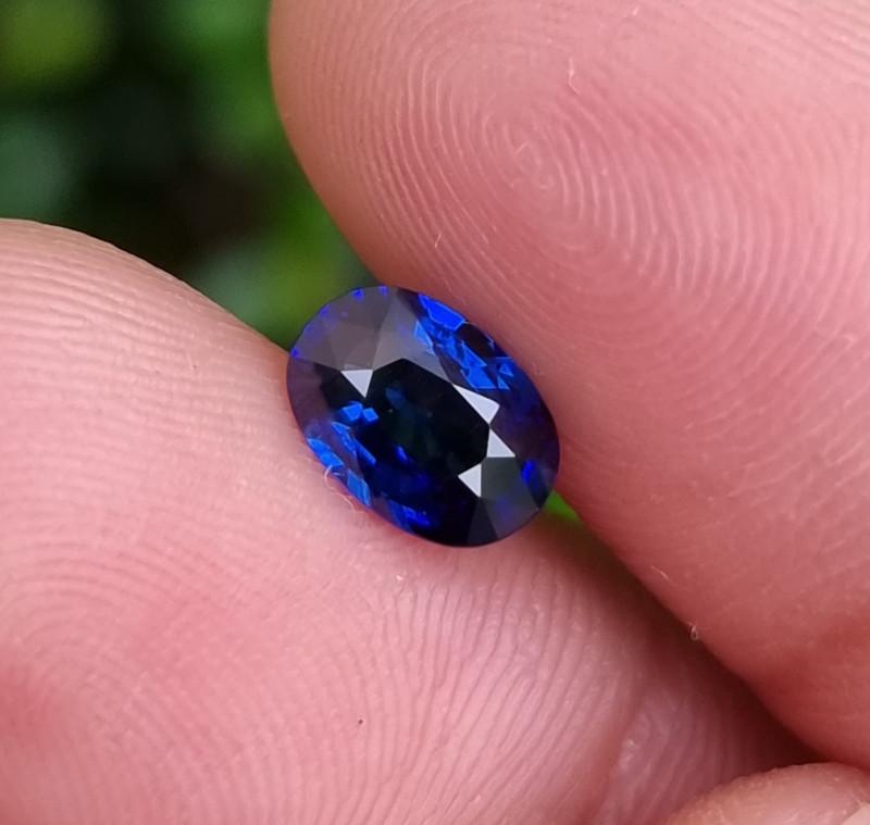 CERTIFIED 1.27 CTS NATURAL STUNNING ROYAL BLUE SAPPHIRE SRI LANKA