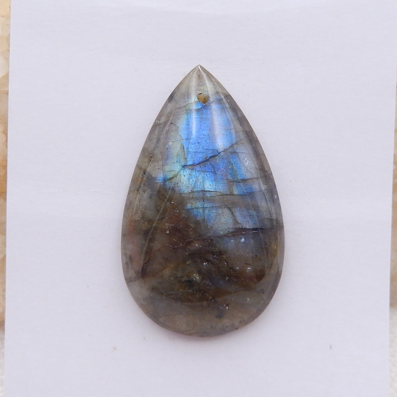 D1814 - 43.5cts Natural Labradorite Water Drop Cabochon,Handmade Gemstone,L