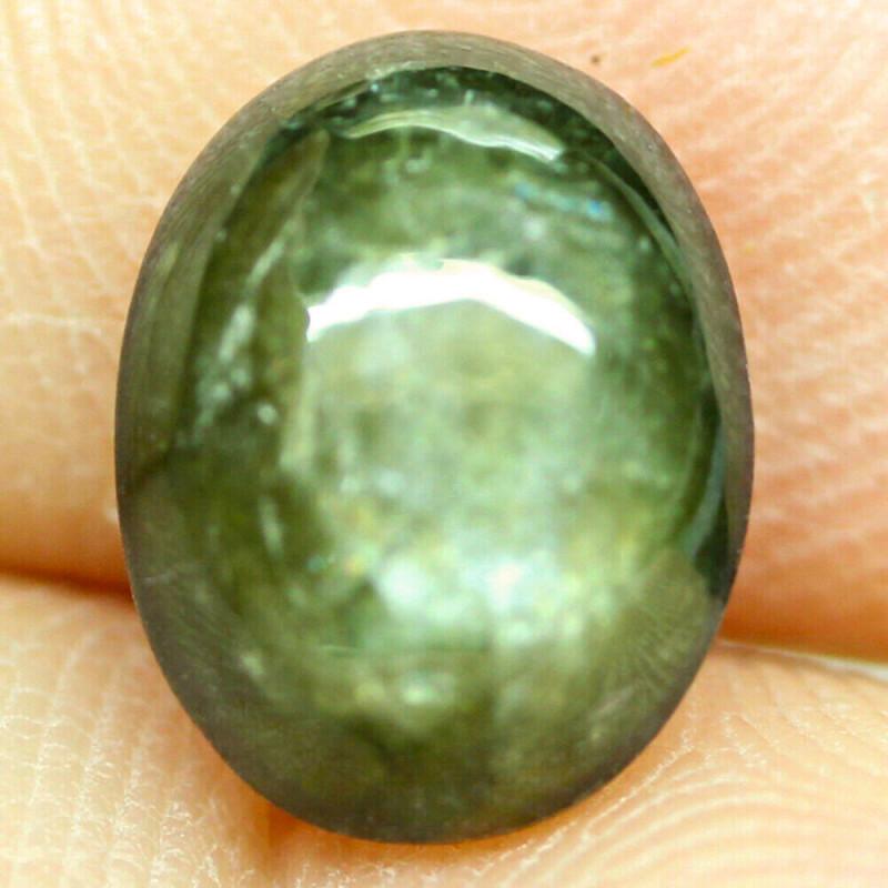 4.98 Carat Silver Green Sapphire Cabochon - Superb