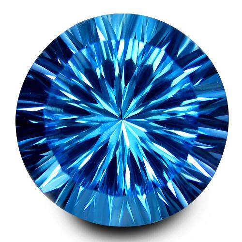 8.95Cts Sparkling Natural Swiss Blue Topaz Round Concave Cut Loose Gem VIDE